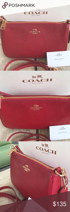 """Coach Top Handle Leather Pouch❤️❤️ Coach Red Crossgrain Leather Top Handle Pouch Crossbody Bag   NWT COACH TOP HANDLE POUCH  TRUE RED  Retail Price: $195 Condition:  This item is brand new with tags and shows no visible signs of wear.  DETAILS Crossgrain leather Inside multifunction pocket Zip-top closure, fabric lining Handle with 6"""" drop Detachable strap with 21 1/2"""" drop for shoulder or crossbody wear 8 3/4"""" (L) x 5"""" (H) x 3"""" (W) Coach Bags Crossbody Bags"""