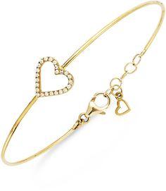 YellOraTM Diamond Heart Wire Bracelet in YellOraTM (1/6 ct. t.w.)