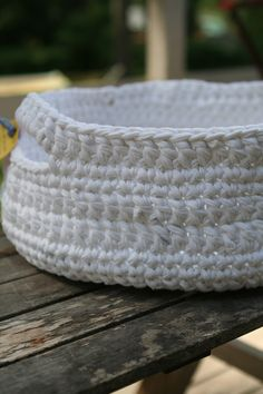 to have and hold white crocheted basket made from t-shirt yarn