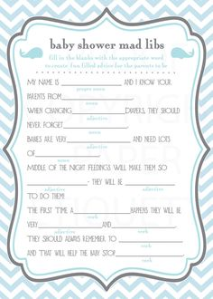 INSTANT UPLOAD Whale Baby Shower Game Mad Libs - Blue and Gray Chevron - Print Your Own via Etsy