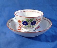 18thC Antique Tea Bowl Saucer Possibly New Hall Spode Flowers Red Blue Georgian