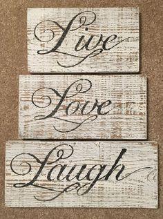 "Wooden Script Plaque Sign Words  /""Live Love Laugh/""  Wall Door Decoration Craft"