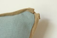 Decorative Blue Linen Pillow With Flat Tan Trim and Pleated Corners on Etsy, $65.00