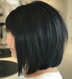 Black Bob With Bangs For Straight Hair