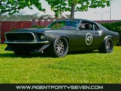 Agent 47 Harbinger Mustang. 700 hp of street legal Harbinger goodness! Harbingers use brand new Dynacorn repro Mustang fastback bodies or existing '69 or '70 shells.