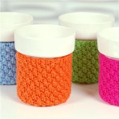 BRRR!  Cold weather and rain are everywhere.  Enjoy a cup of something HOT and keep your hands warm with these hand-crafted ceramic cups nestled in handknit cozies... $63