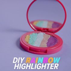 Dreaming of the rainbow highlighter from Bitter Lace Beauty but not enough to purchase it on eBay for over $1,000? DIY to the rescue! Start with powder-based iridescent eye shadows in five shades. Crush each shadow until it reaches a powder consistency. Mix with alcohol to form a paste, then layer each color into a makeup compact and let dry overnight.
