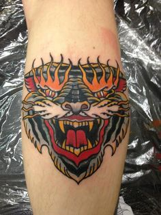 Fierce Tiger Tattoo By Hugh Sheldon #tattoo #tattoos #traditional #traditionaltattoo #london #londontattoo #tattooart #flame #beast #tiger #fierce #hot #for #guys #men #cloak #and #dagger #studio #cloakanddagger
