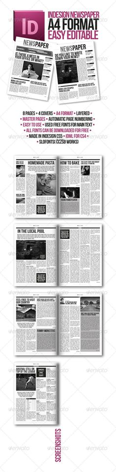 Indesign Modern Newspaper Magazine Template A4 #GraphicRiver ABOUT Modern look newspaper includes 8 pages in A4 format. Th