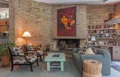 Spectacular Midcentury Modern, Designed by Harold Turner, Lists in Bloomfield Hills - Curbed Detroit Fireplace Shelves, Brick Fireplace, Bloomfield Hills, Organic Architecture, Midcentury Modern, Mid Century, Detroit, House Built, Lloyd Wright