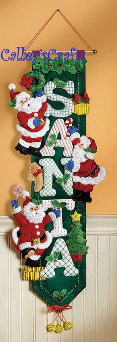 Bucilla Christmas Santa Wall Hanging 85454 Felt Applique 2007 for sale online Christmas Goodies, Felt Christmas, Christmas Time, Christmas Stockings, Christmas Wreaths, Christmas Crafts, Christmas Decorations, Christmas Ornaments, Holiday Decor