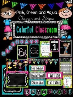 This packet includes:* Alphabet posters (manuscript and cursive)* Base Ten Blocks posters* Daily 5 Posters* Binder covers* Schedule* Job Board* Color posters* Shape posters* Blank Labels* Birthday banner and coupon* Welcome banner* Brag Board Banner* Rainbow fractions* Name plates* Table number tagsI will be adding more to this packet as I find time.