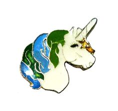UNICORN mystical beauty vintage enamel pin brooch 1980s brony bronies my little pony by VintageTrafficUSA  11.00 USD  ONE beautiful vintage unicorn pin of your choice! Chose from: blue/green mane or the off-white mane... Add inspiration to your handbag tie jacket backpack hat or wall. Have some individuality = some flair! 20 years old hard to find vintage high-quality cloisonne lapel/pin. Beautiful die struck metal pin with colored glass enamel filling. A vintage Unicorn pin! Used but…
