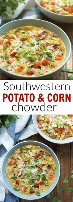 This Southwestern Potato and Corn Chowder is simple to make with leftover grilled vegetables, or start with fresh from scratch! It's loaded with potatoes, corn, peppers, and tons of Southwest flavor! http://www.thereciperebel.com/smoky-southwestern-