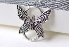 Butterfly Connector Ring Bracelet Component Antique Silver Charms 25x26mm Set of 10 A8032 by VeryCharms on Etsy
