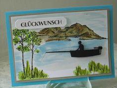 Kartenfenster: Geburtstagskarte für Angler und Fischer