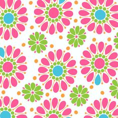 Andover Fabrics Dilly Dally by Kathy Hall Pink Flowers Cotton Fabric 1 Yard PRECUT