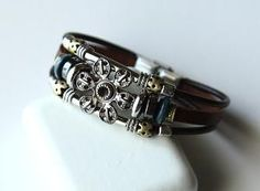 Handwoven fashion brown genuine leather bracelet by Beadsinlife
