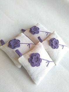 Lavender pillow with hanging, lavender sachet fragrance, wedding favor, crochet rustic sachet with lavender, crochet sachet, gift for women