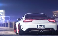 Download wallpapers night, Mazda RX-7, japanese cars, tuning, low rider, sportcars, white RX-7, stance, Mazda