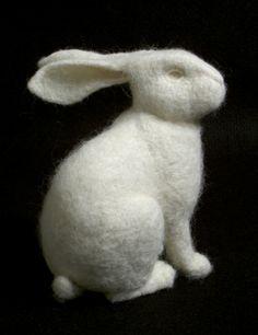 Stephanie Metz / Felt + Rabbit / on TTL design Needle Felted Animals, Felt Animals, Wet Felting, Needle Felting, 3d Figures, Felt Bunny, Soft Sculpture, Rabbit Sculpture, Felting Tutorials