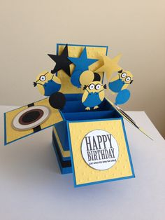 Handmade Happy Birthday Card in a box, Pop up kids Minion/despicable themed card.