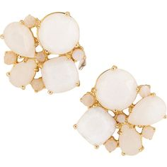 kate spade new york Seastone Sparkle Cluster Stud Earring ($58) ❤ liked on Polyvore featuring jewelry, earrings, fashion accessories, white, stud earrings, cluster earrings, post earrings, kate spade and kate spade jewelry