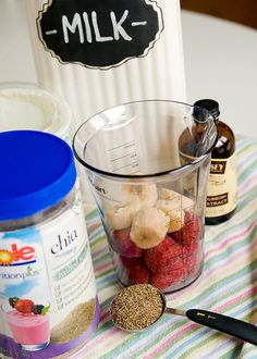 Strawberry chia seed breakfast smoothie. Maybe add some greens to it...