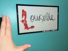 "I will do this with all my future kiddos!!!   #Louisville #Cardinal got crafty! This is a regular #Lraiser, I took a piece of white poster board & cut it to fit a frame I bought at the dollar store. I covered the ""L"" part of my left hand in red paint & stuck it on the poster board."