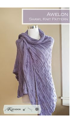 Knitting PATTERN spring summer Shawl by AudreyKerchnerstudio, $5.00