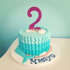 Turquoise Ombré Mermaid Tail Cake (Maesyn)