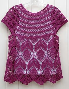 Diy Crafts - Ravelry: Project Gallery for Jamie - short sleeve vest pattern by Vicky Chan Lots of options. Crochet Shirt, Crochet Jacket, Crochet Cardigan, Crochet Baby, Knit Crochet, Crochet Summer, Crochet Stitch, Filet Crochet, Double Crochet