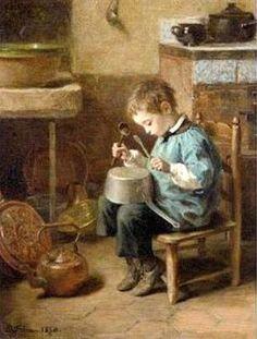 Pierre Edouard Frère – French) I love this painting- it reminds me of our ADAM. Mary Cassatt, Arte Pop, Fine Art, Henri Matisse, French Artists, Vincent Van Gogh, Beautiful Paintings, Vintage Children, Monet
