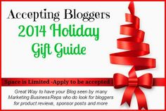 "Bloggers 2014 Holiday Gift Guide Sign Up Bloggers sign up Today to get listed on the ""2014 Holiday Gift Guide"" that will roll out full force Oct 25 thru Dec 25, 2014 . Many bloggers will be pa..."
