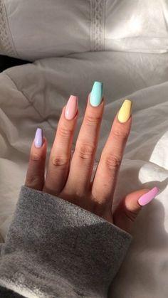 nail art designs with glitter - nail art designs . nail art designs for spring . nail art designs for winter . nail art designs with glitter . nail art designs with rhinestones Fire Nails, Rainbow Nails, Rainbow Pastel, Rainbow Colors, Bright Colors, Solid Colors, Colours, Best Acrylic Nails, Acrylic Nail Art