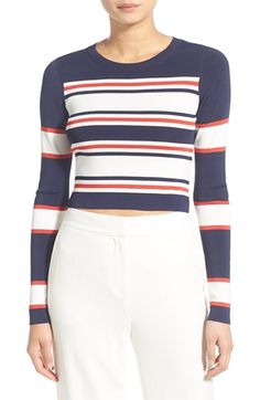 32255b50c676e Trouvé Long Sleeve Crop Sweater available at  Nordstrom Navy Blue Crop Top