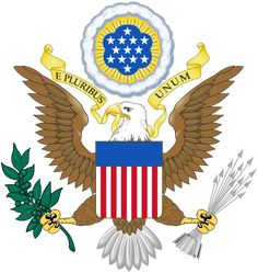 The Coat of Arms of The United States of America. E PLURIBUS UNUM ~ OUT OF MANY, ONE.
