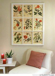 diy wall decoration ideas using vintage book illustrations | creative-decorating-ideas-old-windows-3