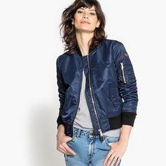 La Redoute, French Style Made Easy Blouson Satin, Blue Bomber Jacket, Style Rock, Pret A Porter Feminin, Jacket Style, Mannequins, Zip Ups, Dark Blue, Denim