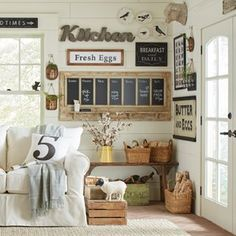 Get inspired by Cottage/Country Living Room Design photo by Birch Lane. Wayfair lets you find the designer products in the photo and get ideas from thousands of other Cottage/Country Living Room Design photos. Farmhouse Wall Decor, Country Decor, Country Living, Cottage Living, Country Kitchen, Country Life, Rustic Farmhouse, French Country, Farmhouse Style