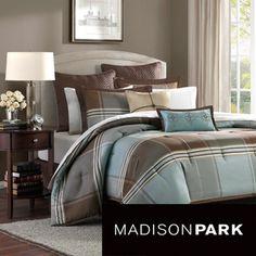 Madison Park Davenport Blue/ Brown 8-piece Comforter Set | Overstock.com Shopping - Great Deals on Madison Park Comforter Sets