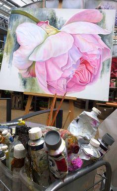 Acrylic Painting Flowers, Silk Painting, Watercolor Flowers, Giant Flowers, Arte Floral, Painting Lessons, Botanical Art, Art Oil, Art Tutorials
