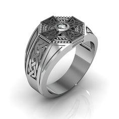 Sterling Silver Men's Diamond Celtic Cross by Majesticjewelry99