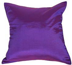 "Amazon.com - Artiwa 16""x16"" Silk Sofa Bed Decorative Throw Pillow Cover Solid Plum Purple -"