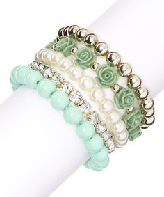 Look at this #zulilyfind! Gold & Mint Rose Stretch Bracelet Set by Simply Reese #zulilyfinds