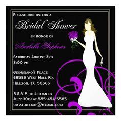 Shop Black and Purple Bridal Shower Invitation created by DaisyLane. Bridal Shower Invitations, Custom Invitations, White Envelopes, Rsvp, Announcement, Special Occasion, Purple, Party, Wedding