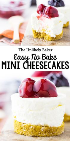 These no bake mini cheesecakes are for those days when you want luxurious, creamy, New York-style cheesecake but without all the work. With no-bake cheesecake this good, you may just find no need to bake cheesecake ever again. Small Cheesecake Recipe, Mini No Bake Cheesecake, Easy Cheesecake Recipes, Easy No Bake Desserts, Mini Desserts, Best Dessert Recipes, Delicious Desserts, Yummy Food, Baking Recipes