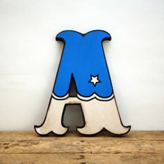 Retro Vintage Style BLUE and White Carnival Circus Style Wood Letter A Handmade