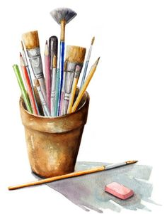 Watercolor art supplies painting / paint brushes / art tools in 2019 Watercolor Art Lessons, Watercolor Art Paintings, Painting & Drawing, Original Paintings, Art Aquarelle, Paint Brush Art, Paint Brushes, Thé Illustration, Painting Tools