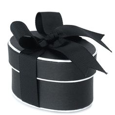 Black and White Box with Black ribbon